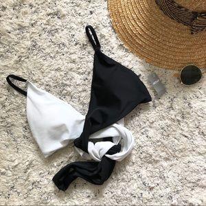 Aerie Black White wrap tie bikini top Size Small